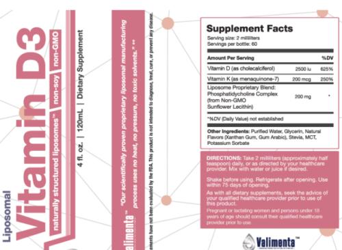 liposomal Viramin-d3 supplement facts