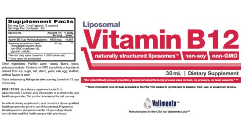 liposomal Vitamin-b12 supplement facts