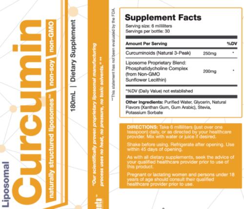 liposomal-curcumin-supplement facts