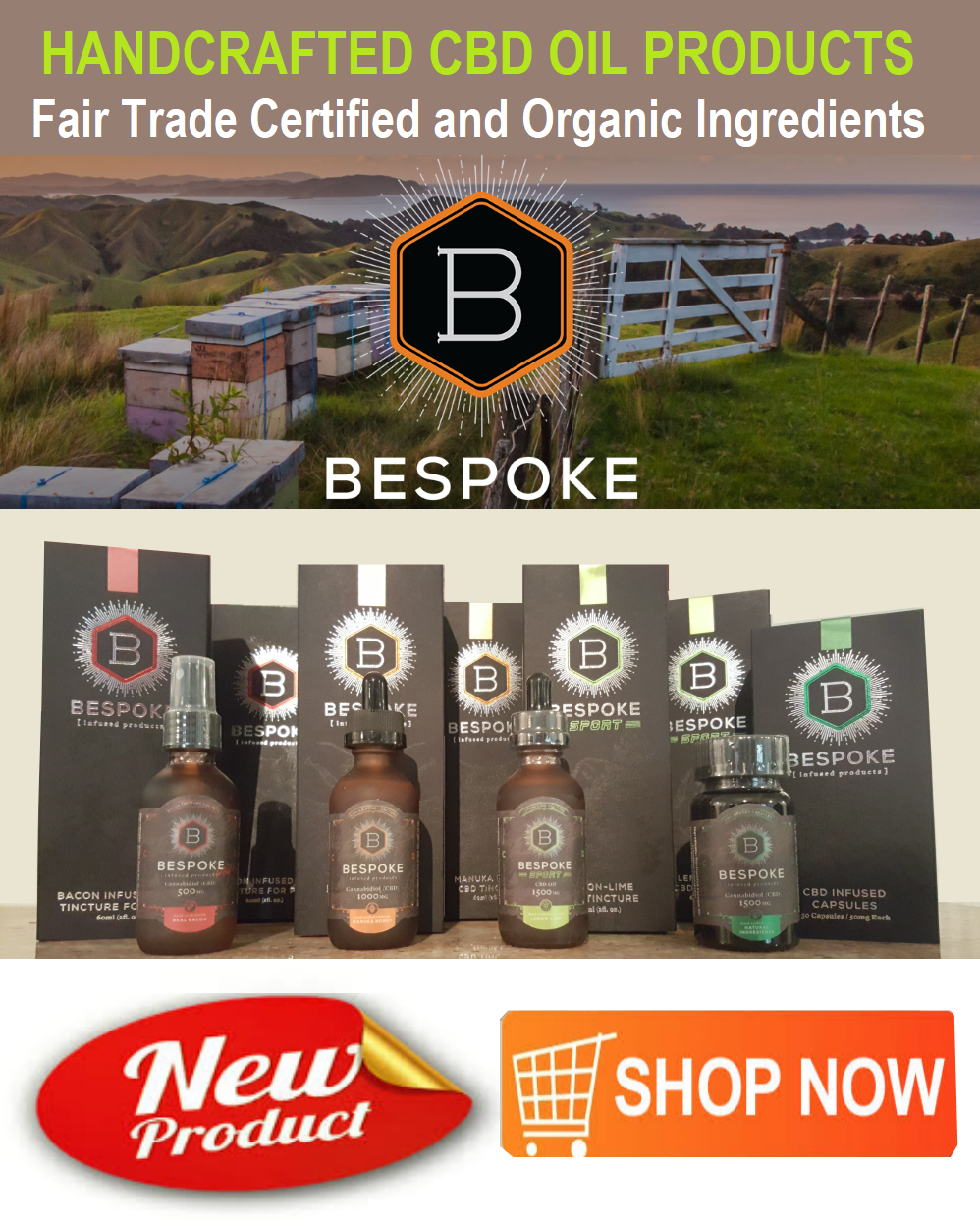 Bespoke Organic CBD Oil  Products on  Sale!